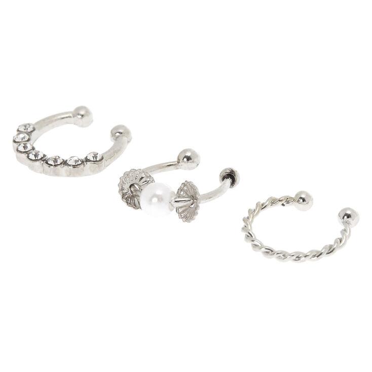 Silver Twisted Pearl Faux Cartilage Hoop Earrings - 3 Pack,