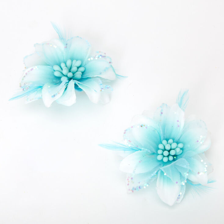 Ombre Lily Flower Hair Clips - Mint, 2 Pack,