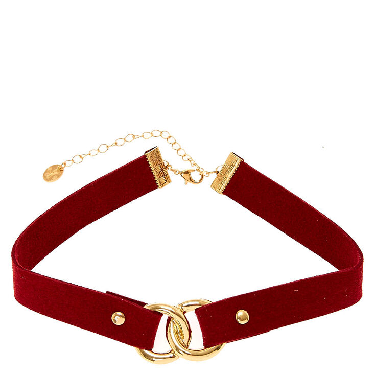Dark Red Suede with Linked Gold Circles,