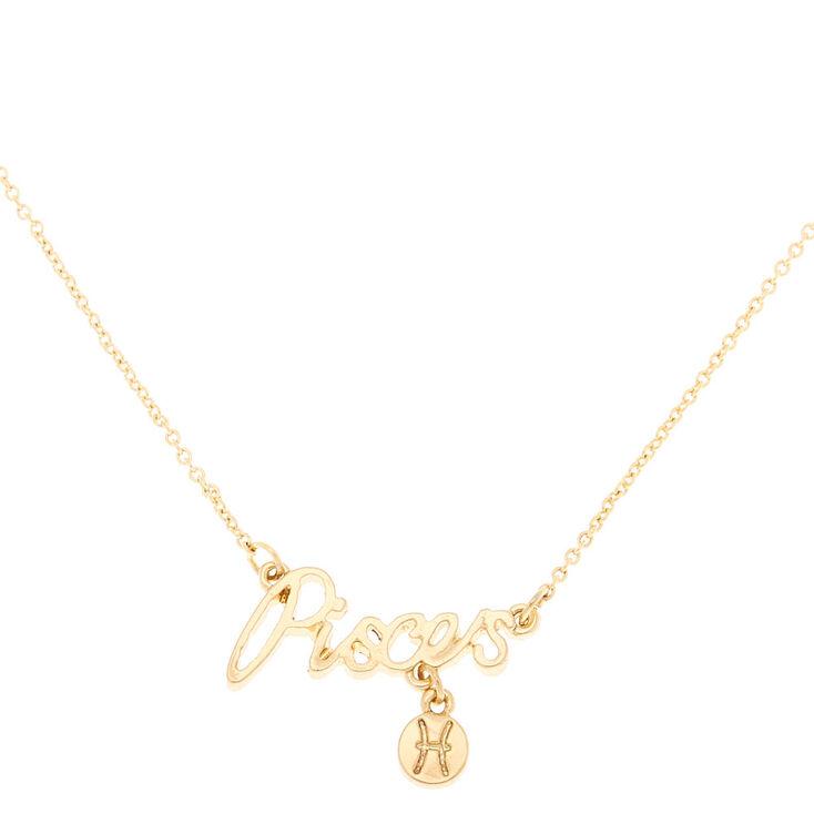 Gold Zodiac Pendant Necklace - Pisces,
