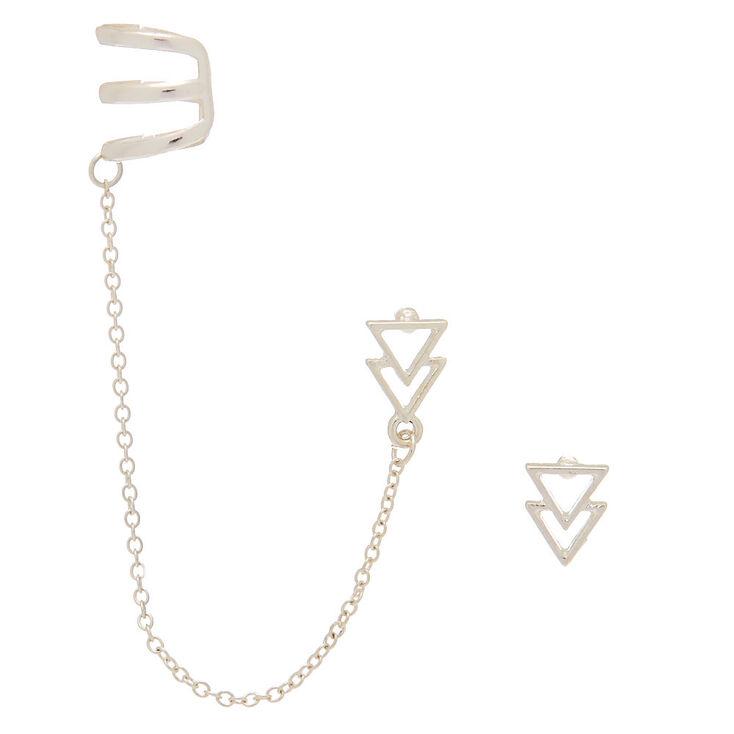 Silver Triangle Ear Connector Earrings,