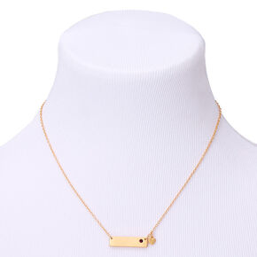 Gold February Birthstone Bar Pendant Necklace - Amethyst,