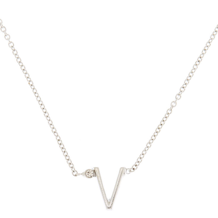 Silver Initial Necklace - V,