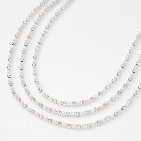 Silver Rhinestone Pearl Multi Strand Choker Necklace,