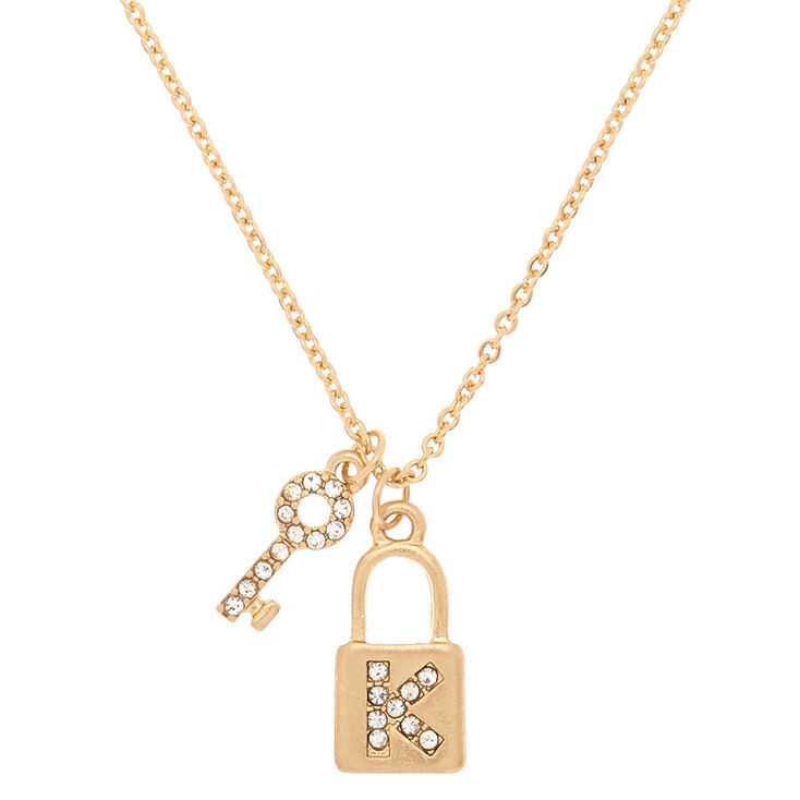 Gold Lock & Key Initial Pendant Necklace - K,