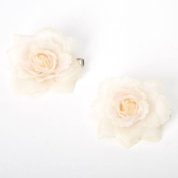 Mini Rose Hair Clips - Nude, 2 Pack,