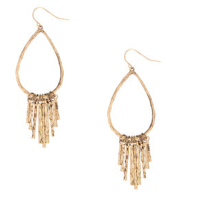 "Gold 2.5"" Hammered Teardrop Drop Earrings,"