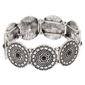 Silver Medallion Stretch Bracelet - Black,