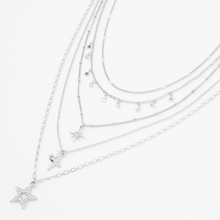 Silver Galaxy of Stars Multi Strand Necklace,