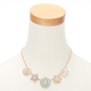 Rose Gold Pastel Floral Statement Necklace,