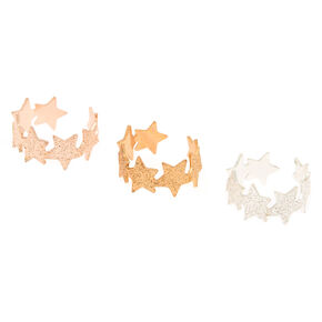 Mixed Metal Sandblasted Cuff Earrings - 3 Pack,