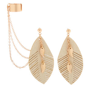 Gold Leaf Connector Earrings - Cream,