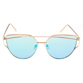 Gold Round Cateye Sunglasses,