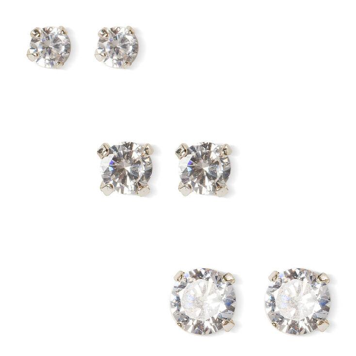 6MM, 7MM & 8MM Round Cubic Zirconia Martini Set Stud Earrings,