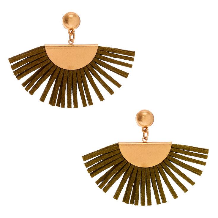 """Gold 2"""" Tassel Fan Drop Earrings - Olive,"""