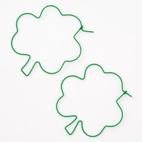 Green Shamrock Outline Hoop Earrings,