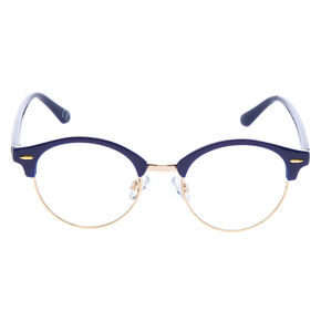 Gold Retro Browline Frames - Navy,