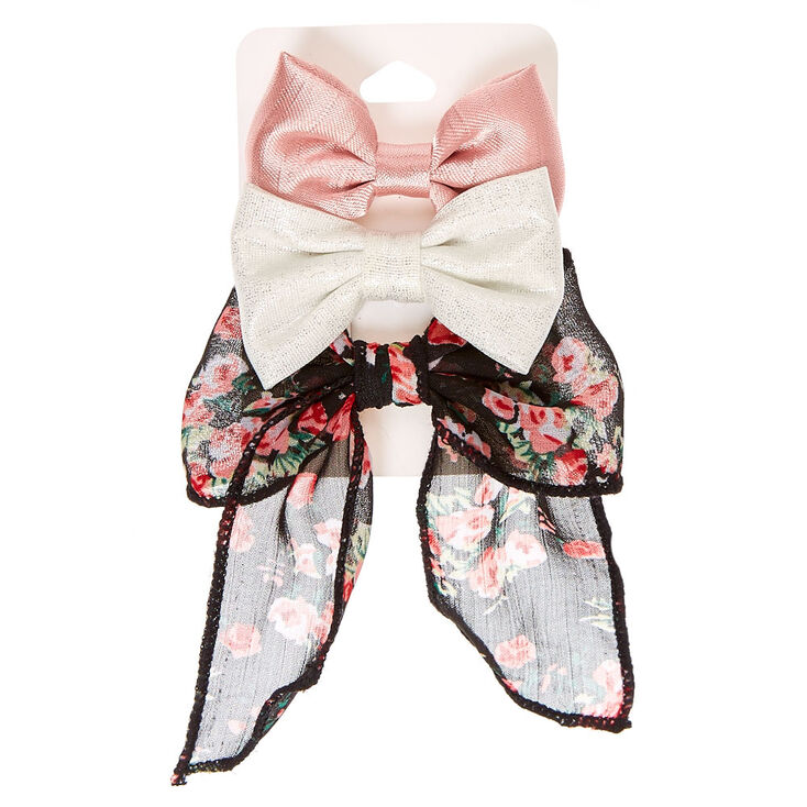 3 Pack Romantic Florals Hair Bow Clips,