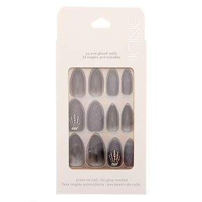Ombre Glitter Faux Nail Set - Black, 24 Pack,