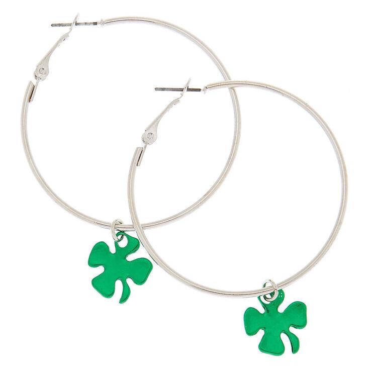 Silver 50MM Shamrock Hoop Earrings - Green,