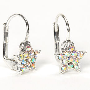 Silver 10MM Crystal Star Huggie Hoop Earrings,