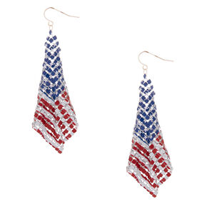 "Silver 3"" American Flag Mesh Drop Earrings,"