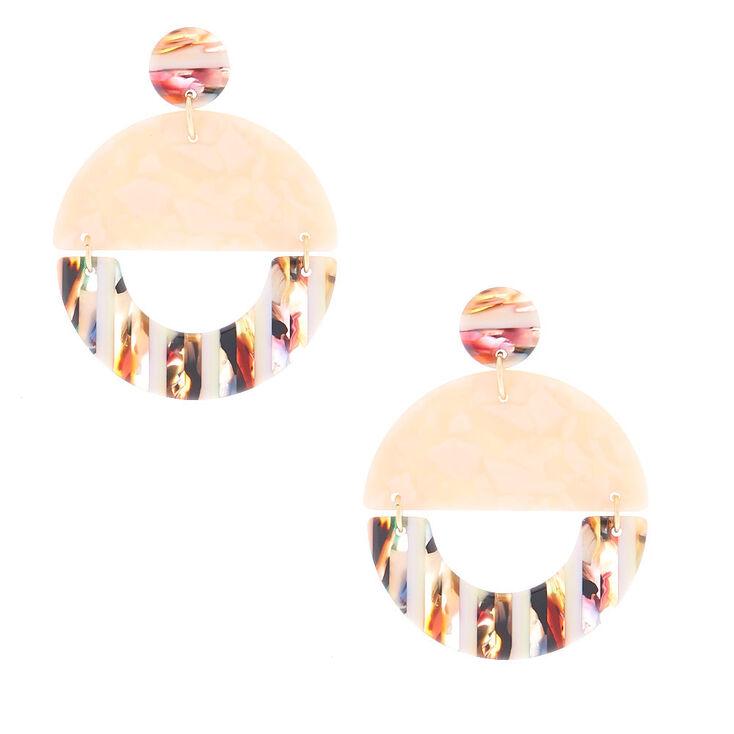"""Gold 1.5"""" Striped Tortoiseshell Drop Earrings - Pink,"""