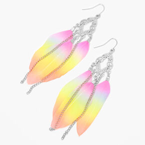 "Silver 4"" Rainbow Feather Filigree Drop Earrings,"