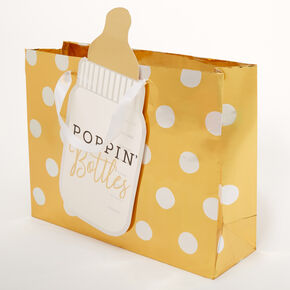 Medium Poppin' Bottles Polka Dot Gift Bag - Gold,
