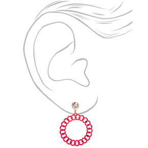 """3"""" Chain Llink Drop Earrings - Pink,"""