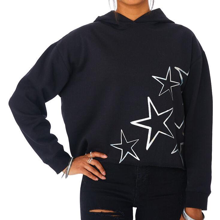 Holographic Star Crop Hoodie - Black,