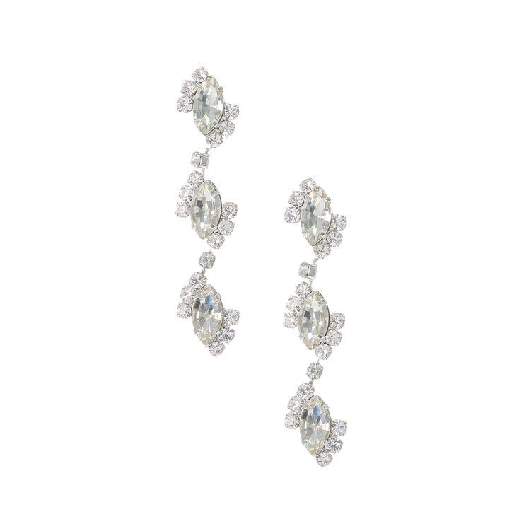 Marquis Crystal Trio Drop Earrings,