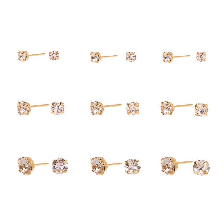 Gold Graduated Crystal Stud Earrings - 9 Pack,