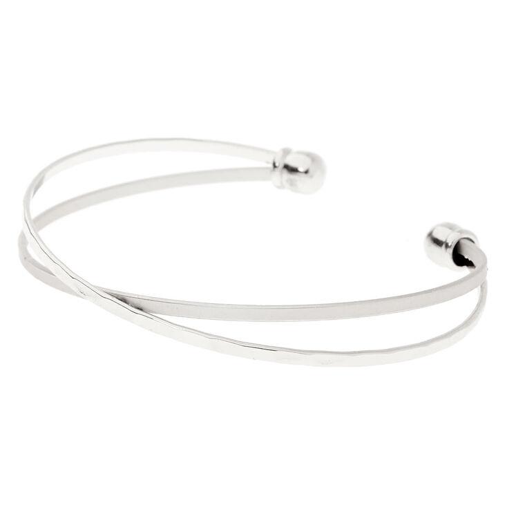 Silver Criss Cross Cuff Bracelet,