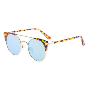 Round Aviator Tortoiseshell Sunglasses - Brown,