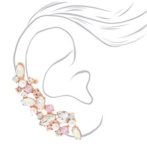 Rose Gold Mismatched Crawler Earring Set,