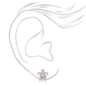 Silver Cubic Zirconia Turtle Stud Earrings - 8MM,