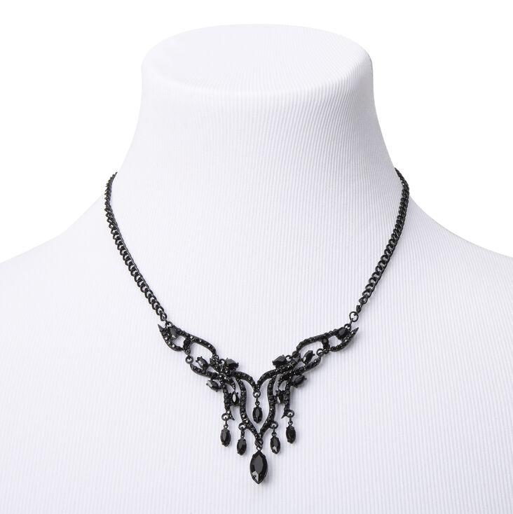 Jet Black Fancy Art Deco Statement Necklace,