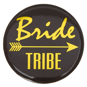 Black & Gold Bride Tribe Button,