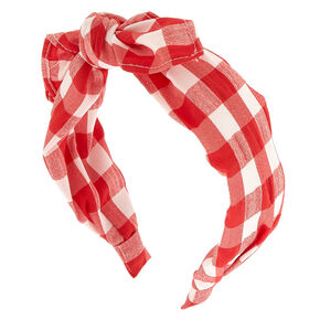 Gingham Knot Bow Headband - Red,