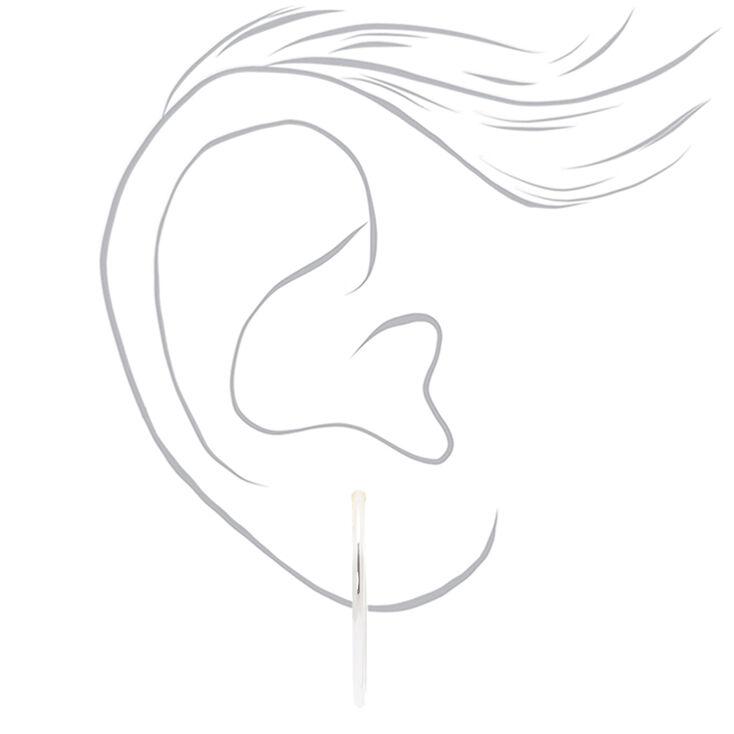 Silver 30MM Spring Clip Hoop Earrings,