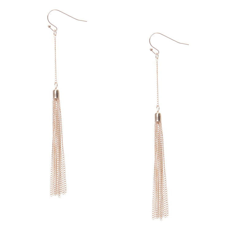 Rose Gold Tone Chain Fringe Tassel Drop Earrings,