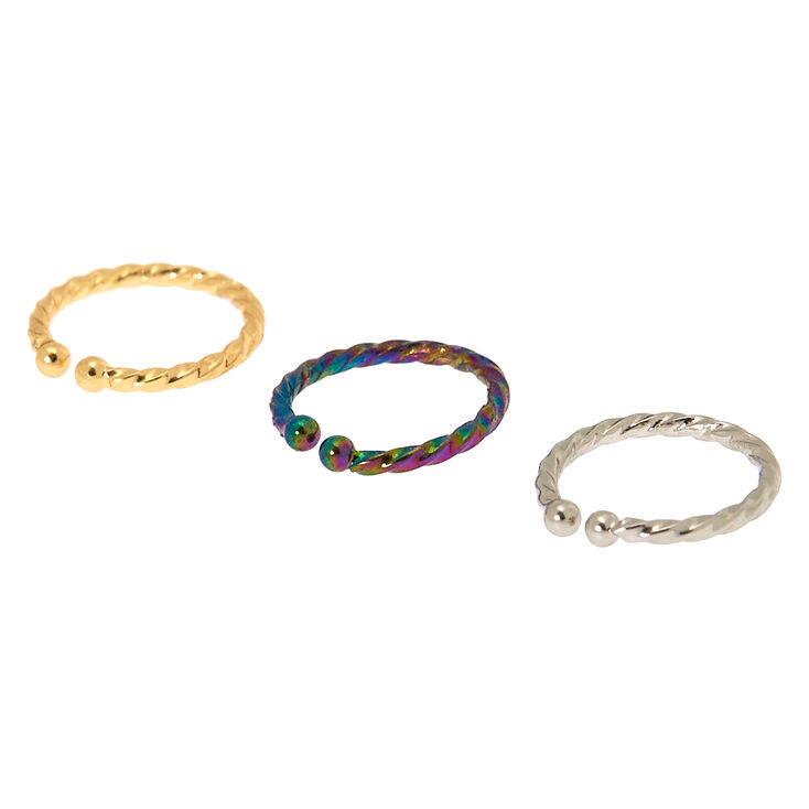 Mixed Metal Anodized Faux Nose Rings - 3 Pack,