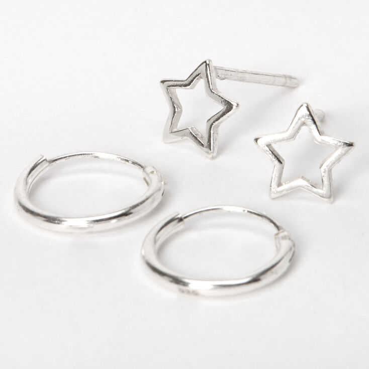 Sterling Silver Star Stud & Hoop Earrings - 2 Pack,