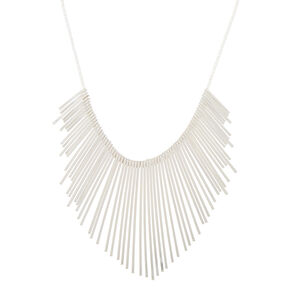 Silver Bar Bib Statement Necklace,