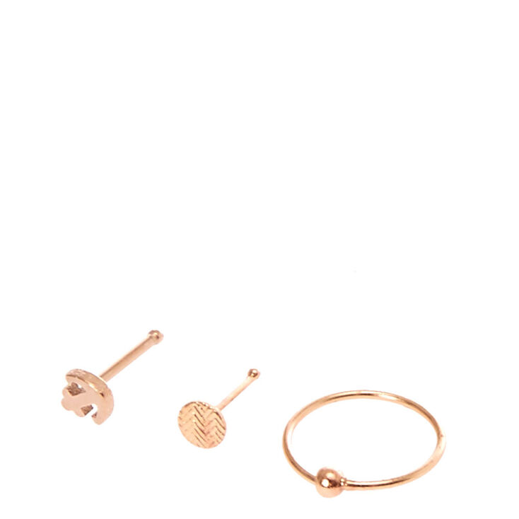 Rose Gold Toned Anchor Nose Ring Set,