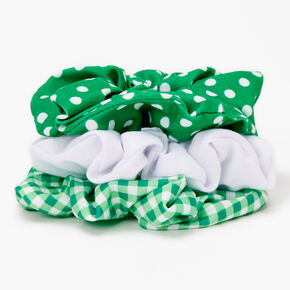 Medium Patterned Hair Scrunchies - Green, 3 Pack,