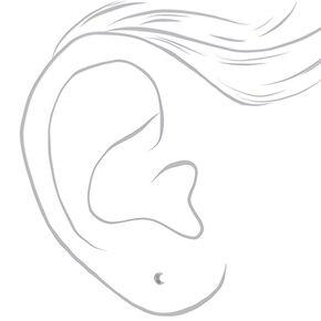 Sterling Silver Embellished Crescent Moon Stud Earrings,
