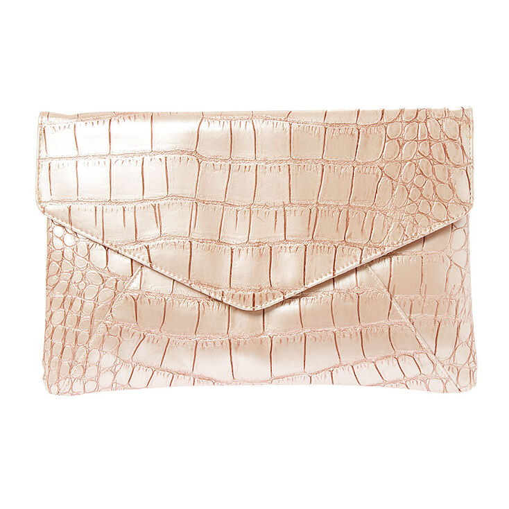 Fantasia Pink Crocodile Envelope Clutch,
