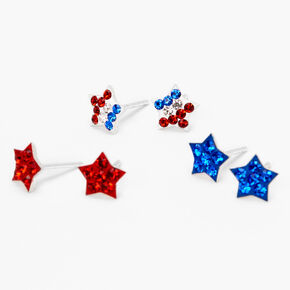 Sterling Silver Fourth of July Star Stud Earrings - 3 Pack,